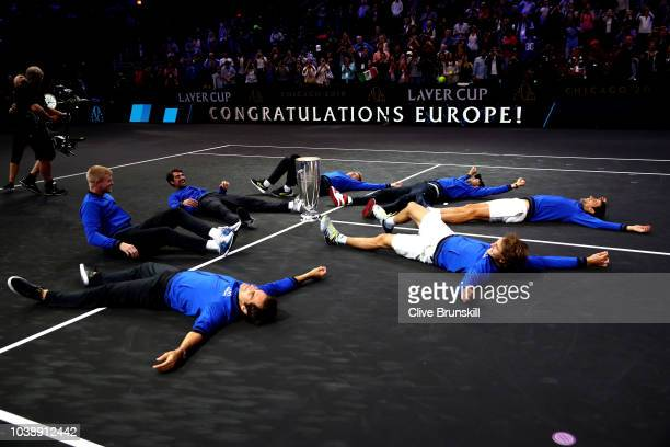 Team Europe celebrates with the trophy after their Men's Singles match on day three to win the 2018 Laver Cup at the United Center on September 23...