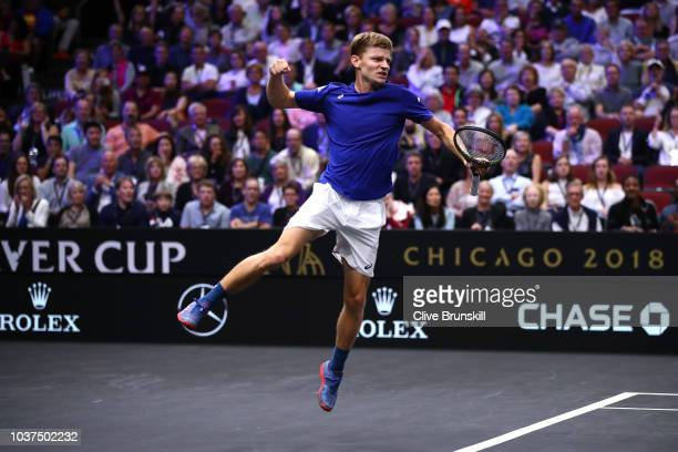 Team Europe David Goffin of Belgium celebrates after defeating Team World Diego Schwartzman of Argentina in their Men's Singles match on day one of...