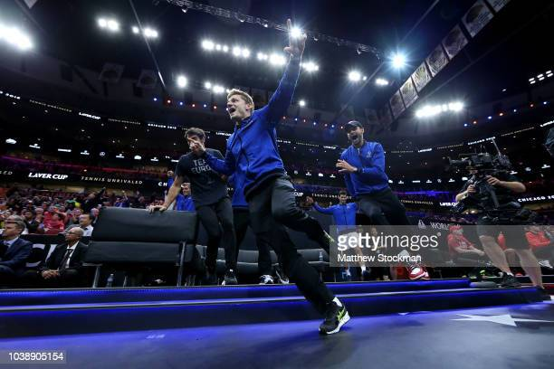 Team Europe David Goffin of Belgium celebrates with his teammates after a point on day three of the 2018 Laver Cup at the United Center on September...