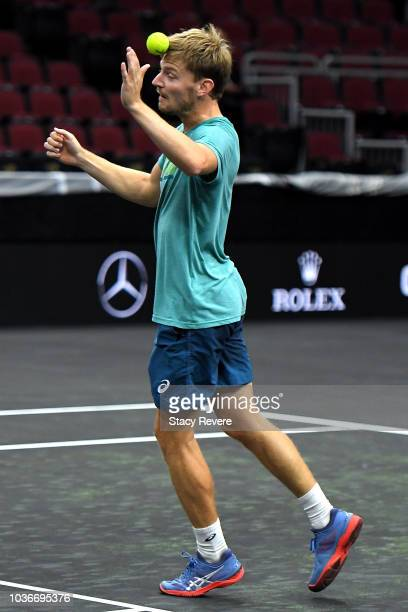 Team Europe David Goffin of Belgium practices prior to the Laver Cup at the United Center on September 20 2018 in Chicago Illinois The Laver Cup...