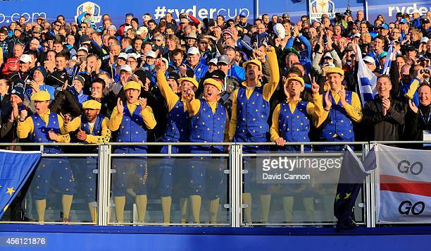 Team Europe fans show their support during the Morning Fourballs of the 2014 Ryder Cup on the PGA Centenary course at the Gleneagles Hotel on...