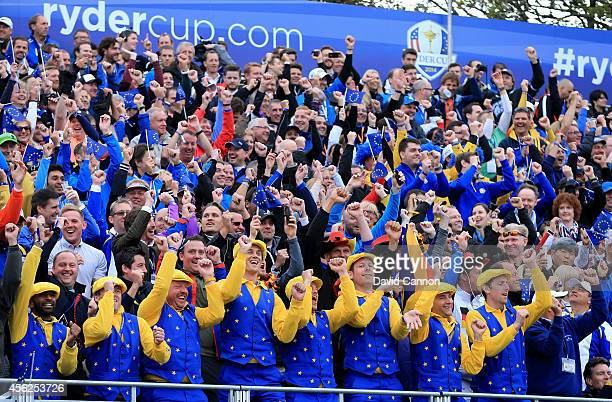 Team Europe fans show their support during the Singles Matches of the 2014 Ryder Cup on the PGA Centenary course at the Gleneagles Hotel on September...