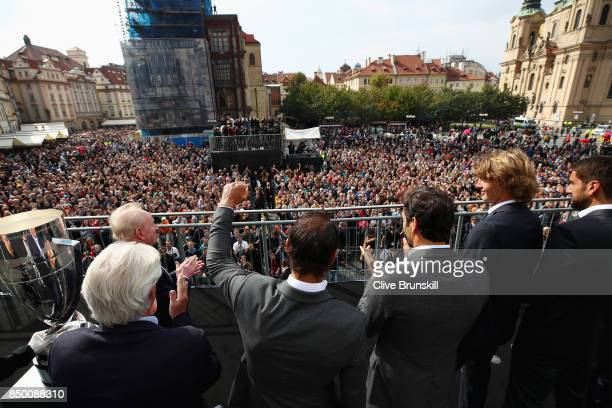 Team Europe greet the fans ahead of the Laver Cup on September 20 2017 in Prague Czech Republic The Laver Cup consists of six European players...