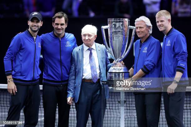 Team Europe Grigor Dimitrov of Bulgaria, Roger Federer of Switzerland, Bjorn Borg of Sweden and and Kyle Edmund pose with former tennis player Rod...