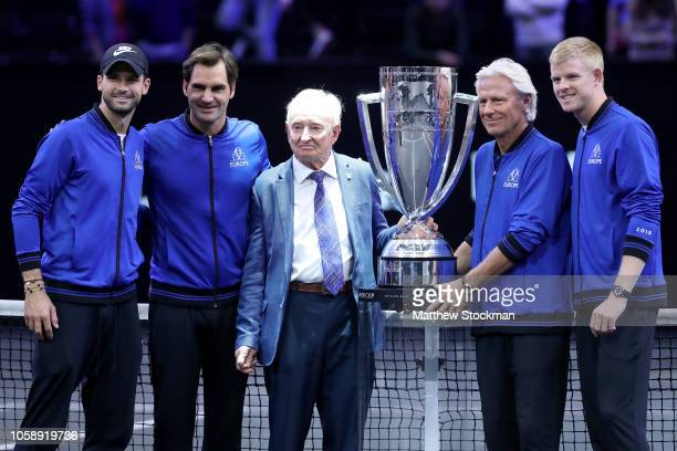 Team Europe Grigor Dimitrov of Bulgaria Roger Federer of Switzerland Bjorn Borg of Sweden and and Kyle Edmund pose with former tennis player Rod...