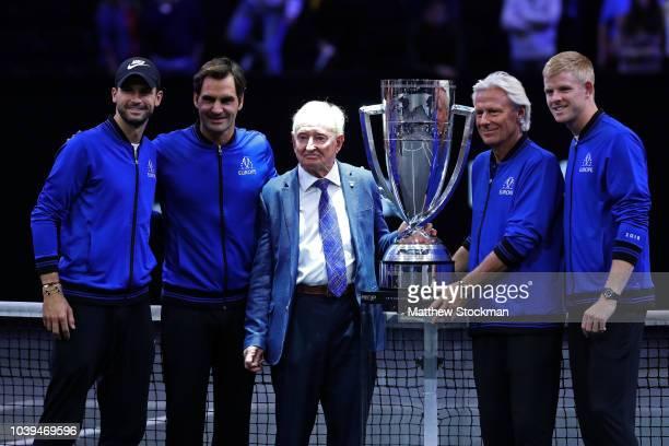 Team Europe Grigor Dimitrov of Bulgaria, Team Europe Roger Federer of Switzerland, former tennis player Rod Laver of Australia, Team Europe Captain...