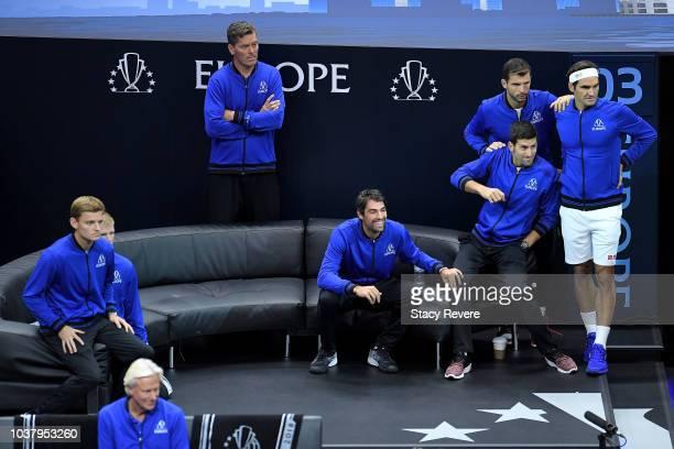 Team Europe Grigor Dimitrov of of Bulgaria Team Europe Novak Djokovic of Serbia and Team Europe Roger Federer of Switzerland react during the Men's...