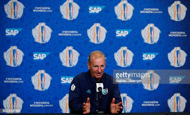 Team Europe head coach Ralph Krueger's speaks to the media after practice at the Centre Videotron on September 7 2016 in Quebec City Quebec Canada