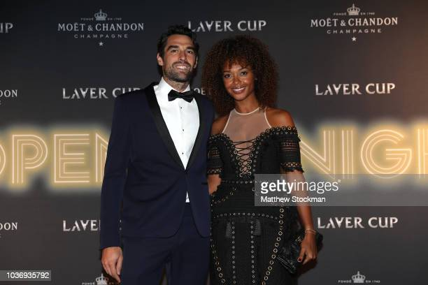 Team Europe Jeremy Chardy of France and wife Susan Gossage arrive on the Black Carpet during the Laver Cup Gala at the Navy Pier Ballroom on...