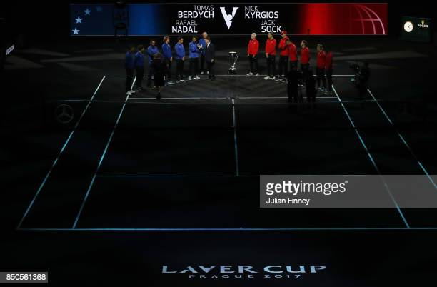 Team Europe led by Bjorn Borg Captain of Team Europe and Team World led by John Mcenroe Captain of Team World line up during previews ahead of the...