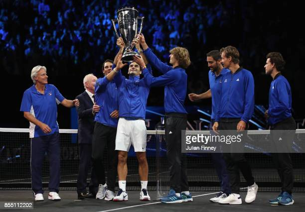 Team Europe led by Roger Federer lift the Laver Cup during the final day of the Laver Cup at the O2 Arena on September 24 2017 in Prague Czech...