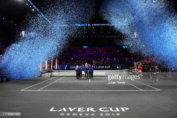 Team Europe lift the Laver Cup trophy after winning the Laver Cup in the final match of the tournament during Day Three of the Laver Cup 2019 at...