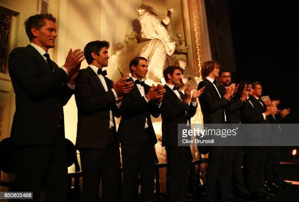 Team Europe line up on stage during the Laver Cup gala dinner ahead of the Laver Cup on September 21 2017 in Prague Czech Republic The Laver Cup...