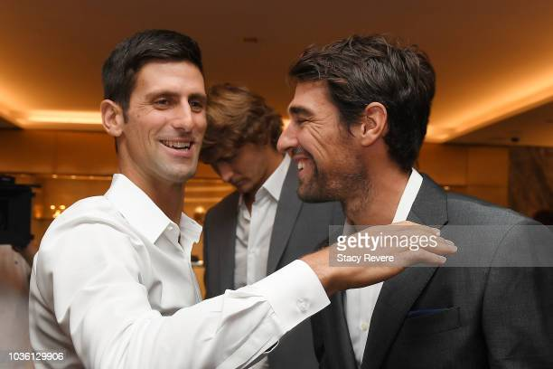 Team Europe members Novak Djokovic and Jeremy Chardy speak prior to the Team Cermeony on September 19 2018 in Chicago Illinois The Laver Cup consists...