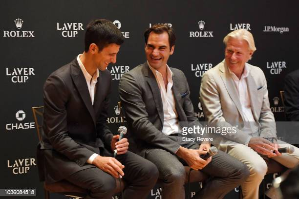 Team Europe members Novak Djokovic and Roger Federer answer questions with Team Europe coach Bjorn Borg during a press conference prior to Laver Cup...