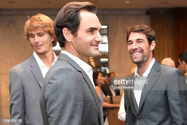 Team Europe members Roger Federer Jeremy Chardy and Alexander Zverev speak prior to the Team Ceremony on September 19 2018 in Chicago Illinois The...