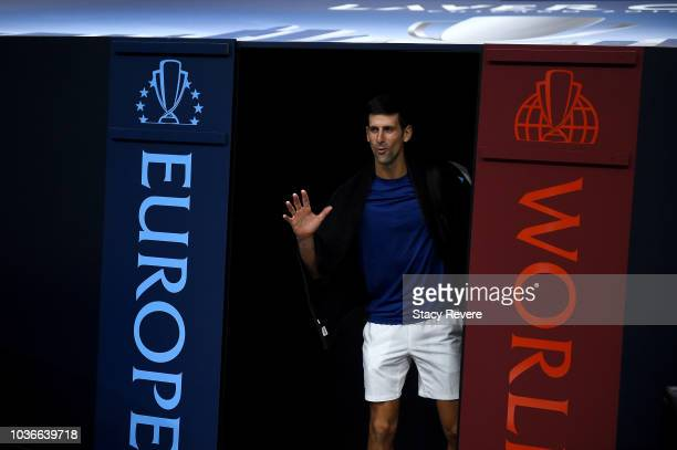 Team Europe Novak Djokovic of Serbia enters the court prior practice for the Laver Cup at the United Center on September 20 2018 in Chicago Illinois...