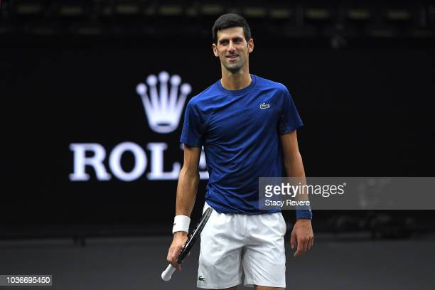 Team Europe Novak Djokovic of Serbia looks on during practice prior to the Laver Cup at the United Center on September 20 2018 in Chicago Illinois...