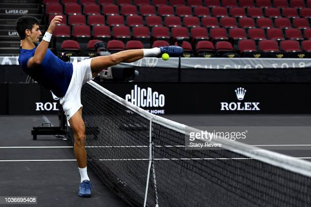 Team Europe Novak Djokovic of Serbia practices prior to the Laver Cup at the United Center on September 20 2018 in Chicago Illinois The Laver Cup...