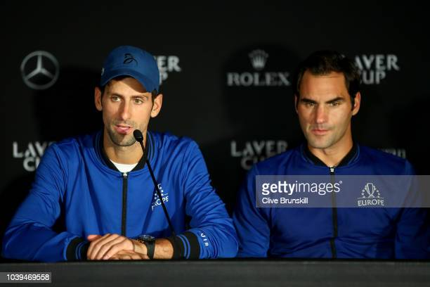 Team Europe Novak Djokovic of Serbia speaks to the media after winning the Laver Cup on day three of the 2018 Laver Cup at the United Center on...
