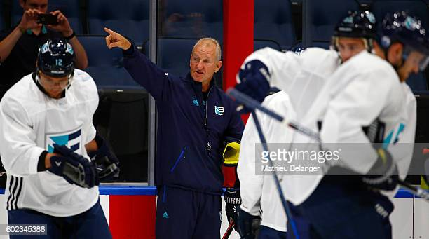 Team Europe players listen to Ralph Krueger's instructions during a practice at the Centre Videotron on September 7 2016 in Quebec City Quebec Canada
