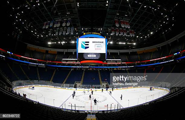 Team Europe players skate during a practice at the Centre Videotron on September 7, 2016 in Quebec City, Quebec, Canada.