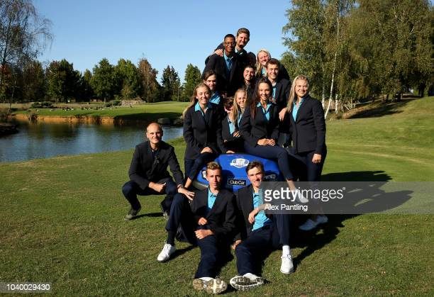 Team Europe pose for a photo following the singles on day two of the 2018 Junior Ryder Cup at Disneyland Paris on September 25 2018 in Paris France