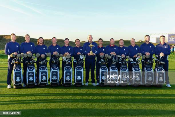 Team Europe pose for the official team photo on the 10th fairway during practice day two ahead of the 2018 Ryder Cup at Le Golf National on September...