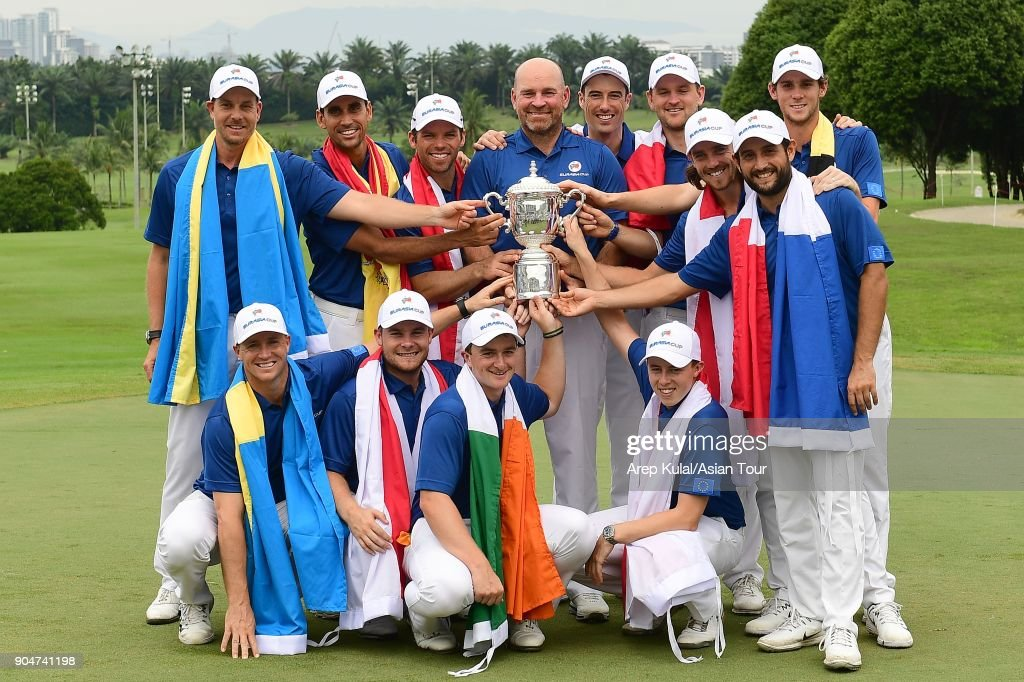 Team Europe pose with the trophy after winning the Eurasia Cup 2018 presented by DRB HICOM at Glenmarie G&CC on January 14, 2018 in Kuala Lumpur, Malaysia.
