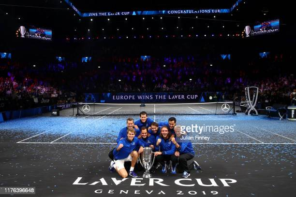 Team Europe pose with the trophy after winning the Laver Cup in the final match of the tournament during Day Three of the Laver Cup 2019 at Palexpo...