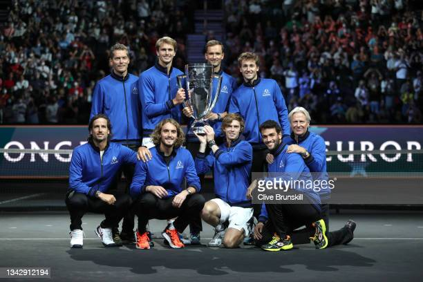 Team Europe poses with the Laver Cup trophy after defeating Team World 14-1 during Day 3 of the 2021 Laver Cup at TD Garden on September 26, 2021 in...
