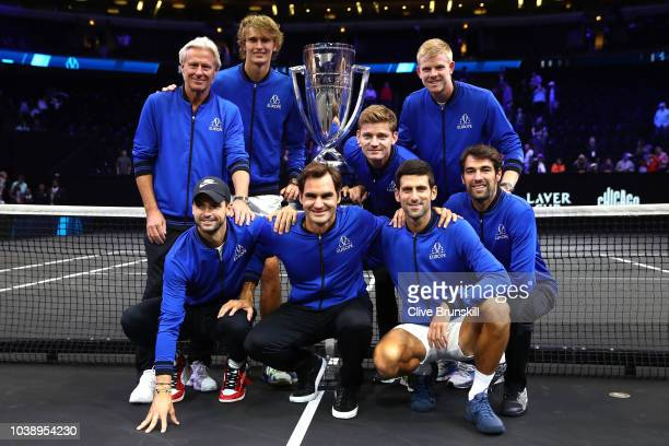 Team Europe poses with the trophy after their Men's Singles match on day three to win the 2018 Laver Cup at the United Center on September 23 2018 in...