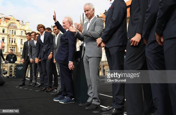 Team Europe Rod Laver and Team World greets the fans ahead of the Laver Cup on September 20 2017 in Prague Czech Republic The Laver Cup consists of...