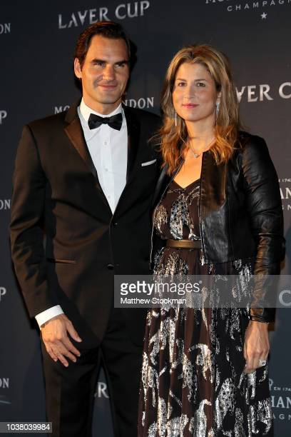 Team Europe Roger Federer of Switzerland and spouse Mirka Federer arrive on the Black Carpet during the Laver Cup Gala at the Navy Pier Ballroom on...