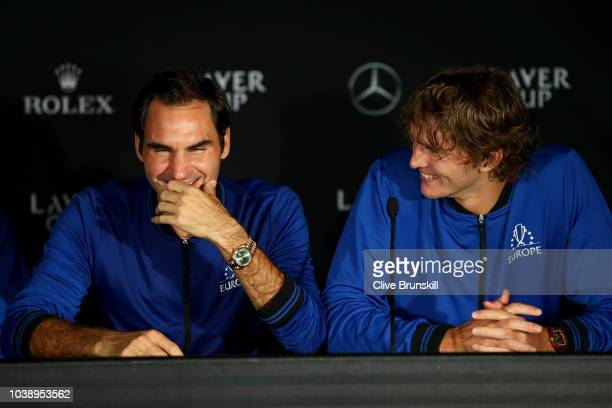 Team Europe Roger Federer of Switzerland and Team Europe Alexander Zverev of Germany speak to the media after their Men's Singles match on day three...