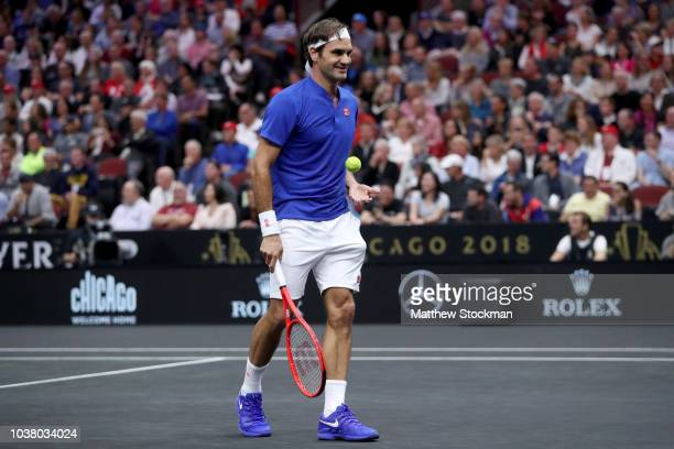 Team Europe Roger Federer of Switzerland celebrates a point against Team World Nick Kyrgios of Australia during their Men's Singles match on day two...