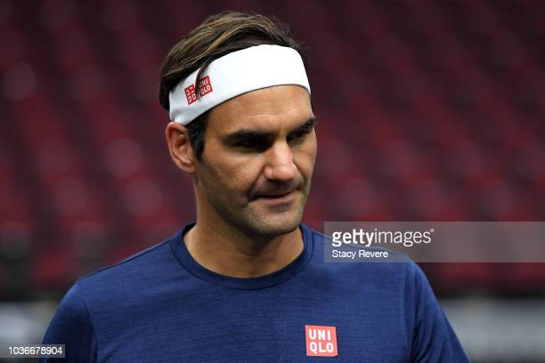 Team Europe Roger Federer of Switzerland looks on during practice prior to the Laver Cup at the United Center on September 20 2018 in Chicago...