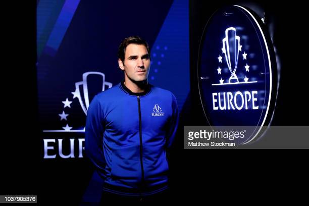 Team Europe Roger Federer of Switzerland looks on prior to the Men's Singles match on day two of the 2018 Laver Cup at the United Center on September...