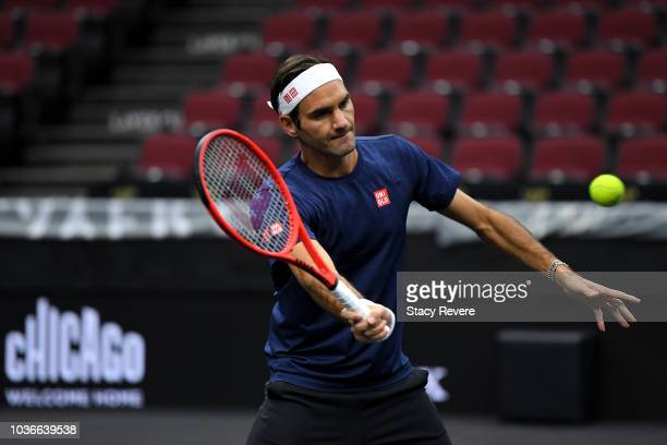 Team Europe Roger Federer of Switzerland practices prior to the Laver Cup at the United Center on September 20 2018 in Chicago Illinois The Laver Cup...