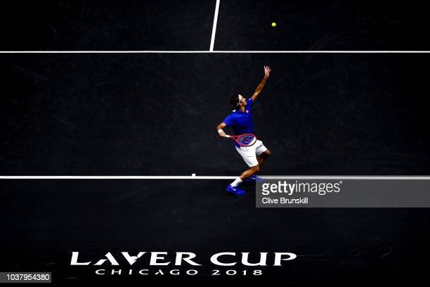 Team Europe Roger Federer of Switzerland serves a shot against Team World Nick Kyrgios of Australia during their Men's Singles match on day two of...