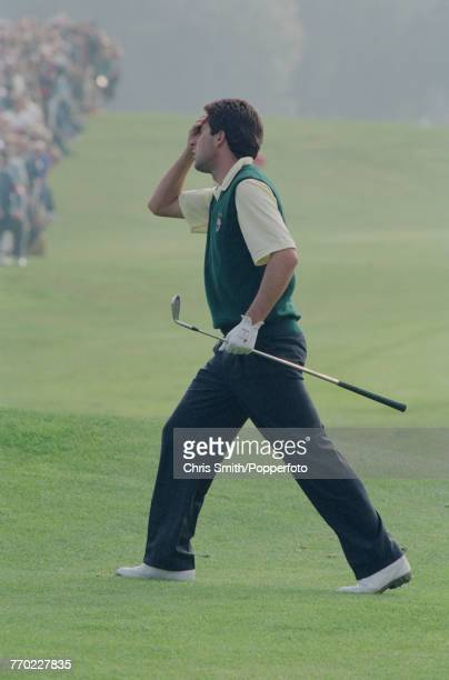 Team Europe Ryder Cup member Spanish golfer Jose Maria Olazabal pictured walking off a fairway during play in the 1991 Ryder Cup on the Ocean Course...
