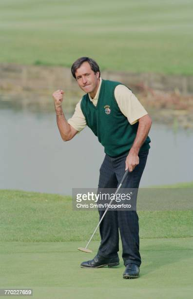 Team Europe Ryder Cup member Spanish golfer Seve Ballesteros pictured celebrating a successful putt on a green during play in the 1991 Ryder Cup on...