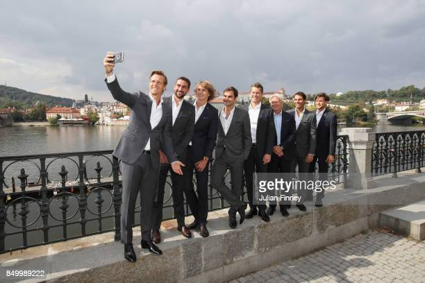 Team Europe take a selfie during a photoshoot ahead of the Laver Cup on September 20 2017 in Prague Czech Republic The Laver Cup consists of six...