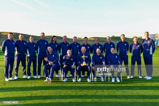 Team Europe with captain and vice captains pose for the official team photo on the 10th fairway during practice day two ahead of the 2018 Ryder Cup...