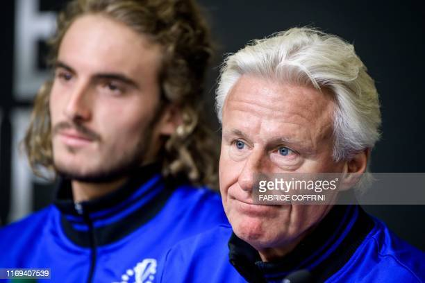 Team Europe's captain captain Bjorn Borg looks on next to Greek tennis player Stefanos Tsitsipas during a press conference ahead of the 2019 Laver...