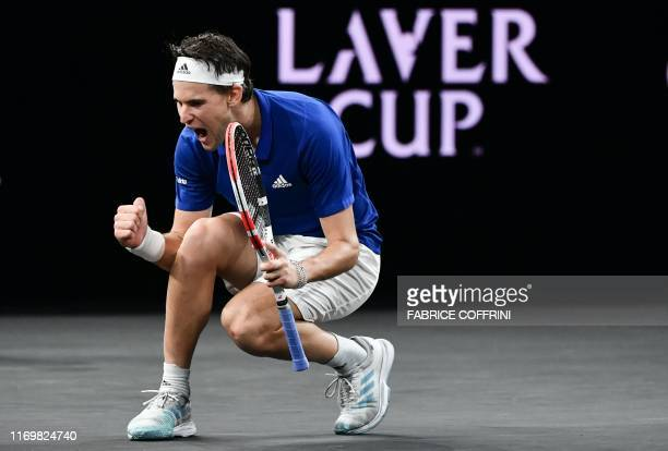 Team Europe's Dominic Thiem celebrates his victory over Team World's Denis Shapovalov during their match at the 2019 Laver Cup tennis tournament in...