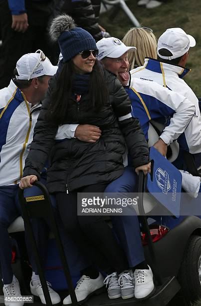 Team Europe's Jamie Donaldson and his fiancee Kathryn Tagg are driven away after Saturday's foursomes matches at Gleneagles Hotel in Gleneagles...
