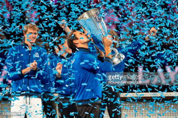 Team Europe's Roger Federer celebrates after winning the 2019 Laver Cup tennis tournament in Geneva, on September 22, 2019.