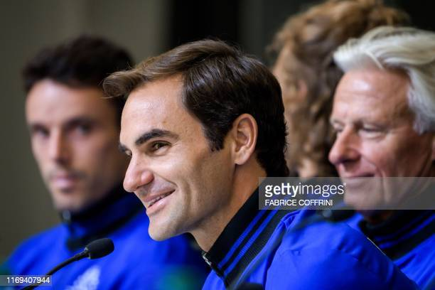 Team Europe's Spanish tennis player Roberto Bautista Agut Swiss tennis player Roger Federer and Swedish captain Bjorn Borg attend a press conference...