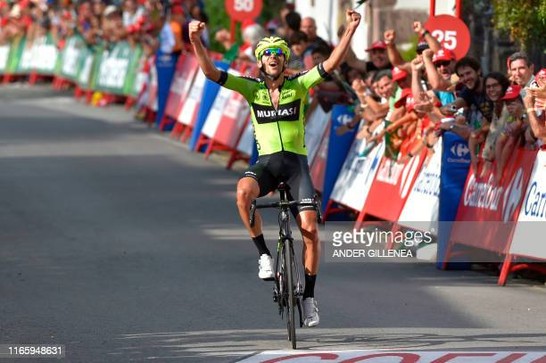 TOPSHOT Team Euskadi Basque Country Murias rider Spain's Mikel Iturria crosses the finish line of the eleventh stage of the 2019 La Vuelta cycling...